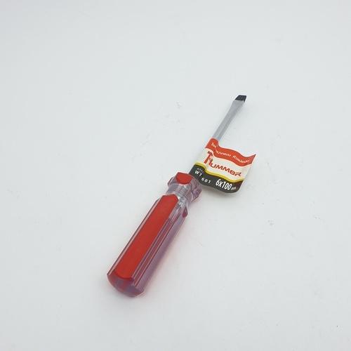 HUMMER ไขควงปากแบนหัวแม่เหล็ก รุ่น WT-601-6X100 ขนาด 6x100mm. WT-601-6X100 สีแดง