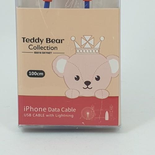 USUPSO สายดาต้าชาร์จ Teddy collection สำหรับแอปเปิ้ล - สีน้ำเงิน