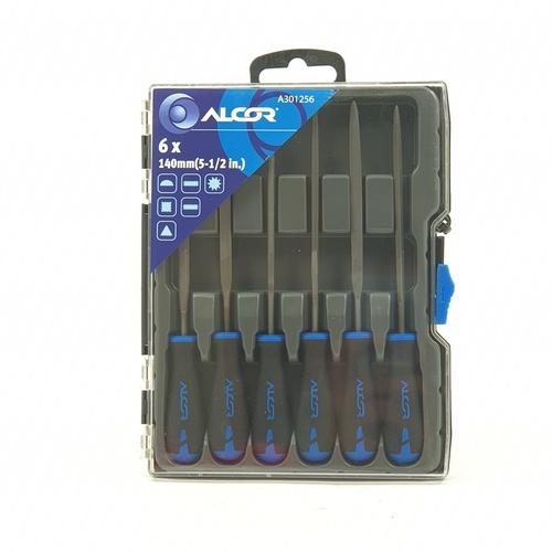 ALCOR ชุดตะไบ 3x140MM. (1/8X5-1/2IN) (6ชิ้นต่อแพค) A301256  สีดำ