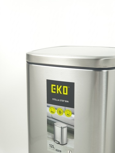 EKO ถังขยะขาเหยียบ ขนาด 12L สีเงิน EK9384MT
