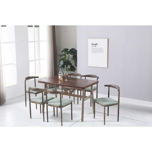 Delicato เก้าอี้รับประทานอาหารรอนนี่ ขนาด 53x40x74 ซม.ลายไม้-เบาะสีเขียวอ่อน HO-LGN สีน้ำตาลเข้ม