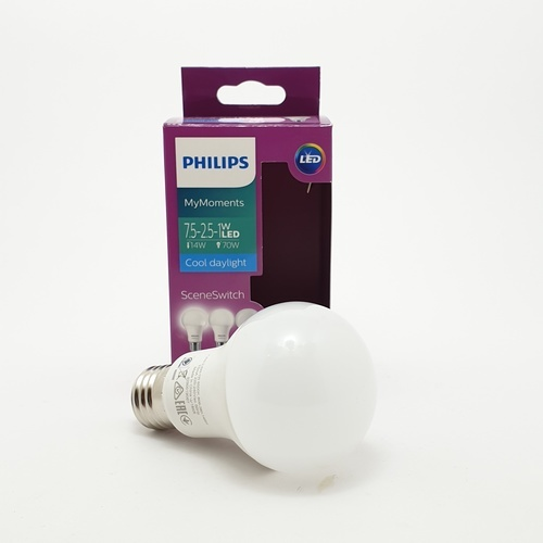 PHILIPS LED SSW A60 3S 7.5-3-12-70W E27 6500K - สีขาว