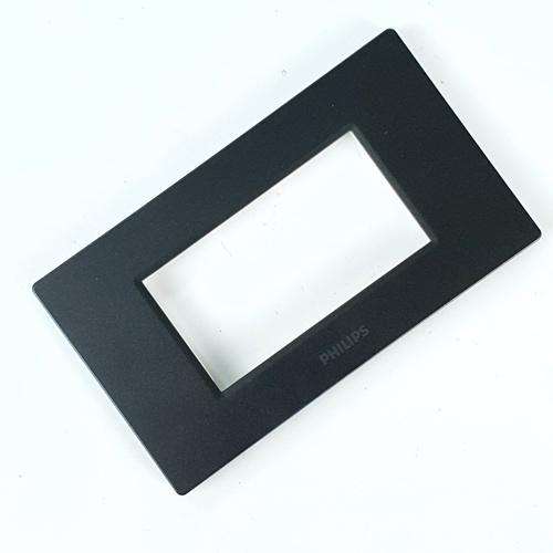PHILIPS หน้ากาก 3 ช่อง ไม่เว้นระยะ  leafstyle cover 3m + grid สีดำ