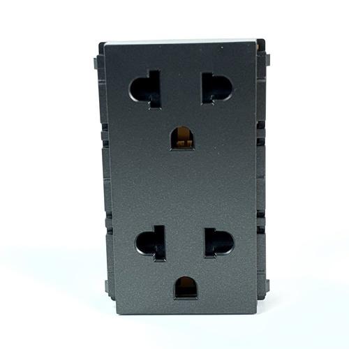PHILIPS เต้ารับไฟฟ้าคู่ 2 สาย+สายดิน มีม่านนิรภัย leafstyle dup 2p+e us-eu socket สีดำ