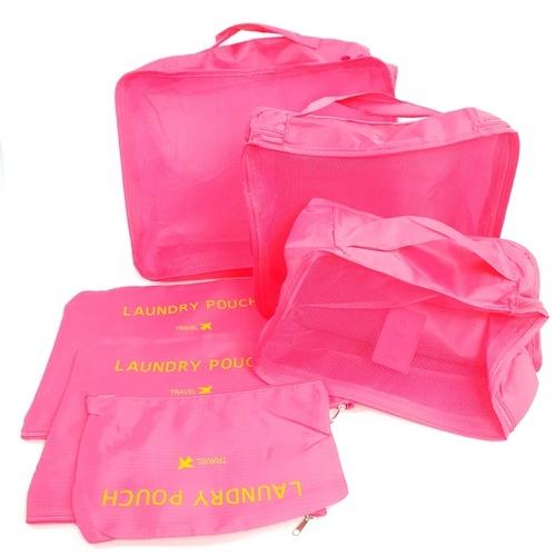 WETZLARS ชุดกระเป๋าจัดระเบียบ ( 6ใบ )   ZRH-001-FS  สีชมพูบานเย็น