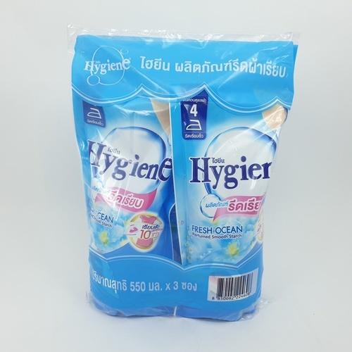 Hygiene ไฮยีน รีดเรียบ 550 มล. ซอง แพ็ค 3 สีฟ้า  Hygiene Iron Starch 550 Pouch 3s สีฟ้า