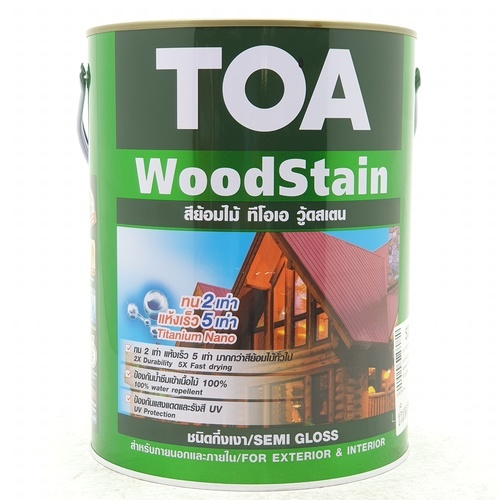 TOA Woodstain สีย้อมไม้กึ่งเงา ขนาด 1 กล. S02สีไม้สักทอง