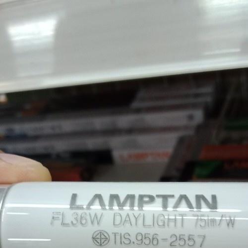 LAMPTAN หลอดนีออนตรง  36w T8 แสงเดย์ไลท์ ขั้วเงิน สีขาว