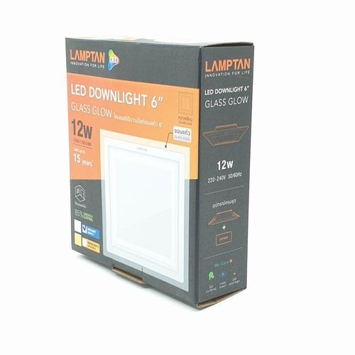 LAMPTAN โคมดาวน์ไลท์ฝังฝ้า LED 12W หน้าเหลี่ยม ขอบกระจกใส แสงเดย์ไลท์  กลาสโกลด์ สีขาว