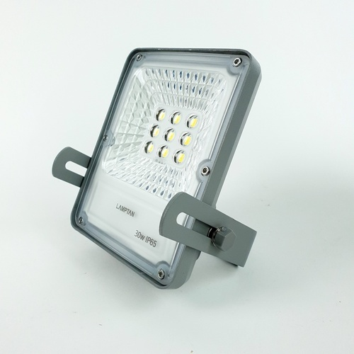 LAMPTAN โคมไฟฟลัดไลท์ โซล่าร์เซลล์ LED 30W แสงเดย์ไลท์ รุ่นสมาร์ทเซ็นเซอร์ โซลิด + รีโมท IP65 SOLID  สีเทา