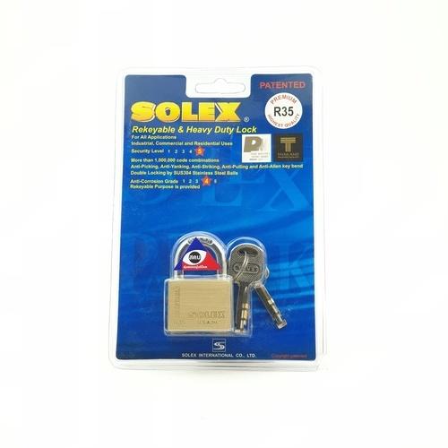 SOLEX กุญแจคล้อง 35 มม. EXTRA NEW PLUE สีทอง
