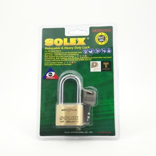 SOLEX 40 mm key padlock MACH II L 40MM  สีทอง