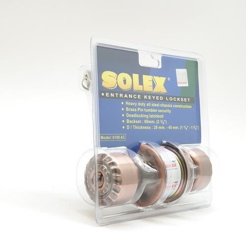 SOLEX ลูกบิดลายไม้ 6100AC รมดำ