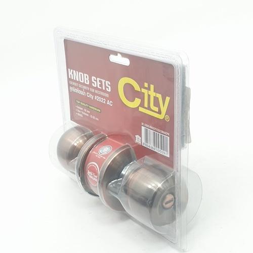 CITY ลูกบิดห้องน้ำ   2022 BK/AC สีทองแดงรมดำ
