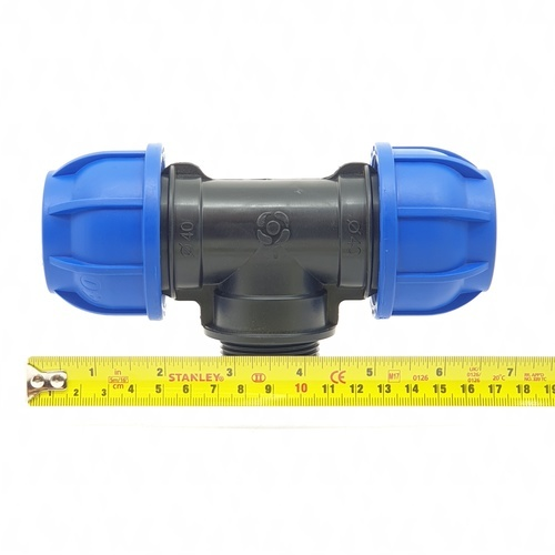 Super Products ข้อต่อสามทางเกลียวนอก 1.1/4นิ้ว(40มม.) 245 ฟ้า