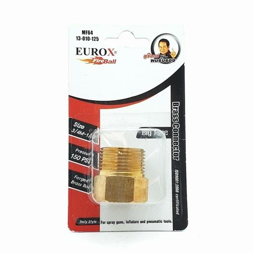 EUROX บูชชิ่ง (ข้อต่อลดทองเหลืองเกลียว) 6-4 หุน ทอง