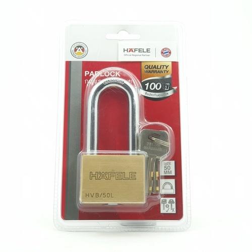HAFELE  กุญแจล็อคสายยู สายยาว  50 มม.  482.01.985 ทองเหลือง
