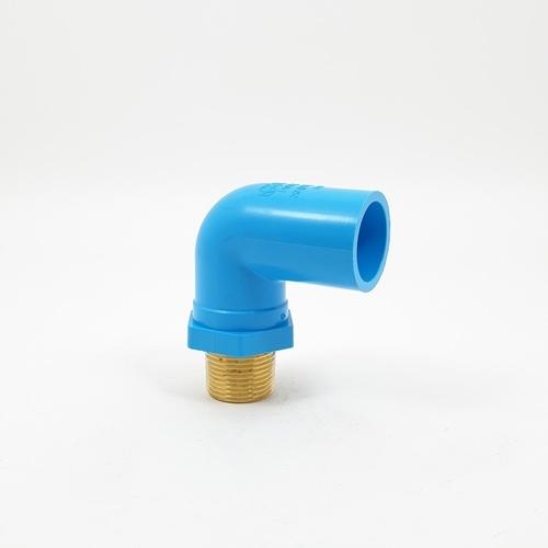 SCG ข้องอ 90 เกลียวนอกทองเหลือง หนา 3/4นิ้ว(20)  สีฟ้า
