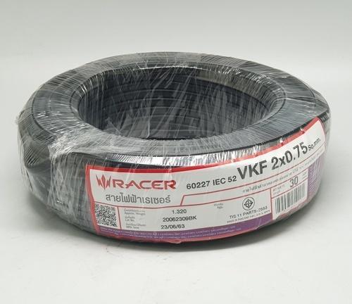RACER สายไฟ IEC52 VKF 2x0.75 Sq.mm. 30M.  สีดำ
