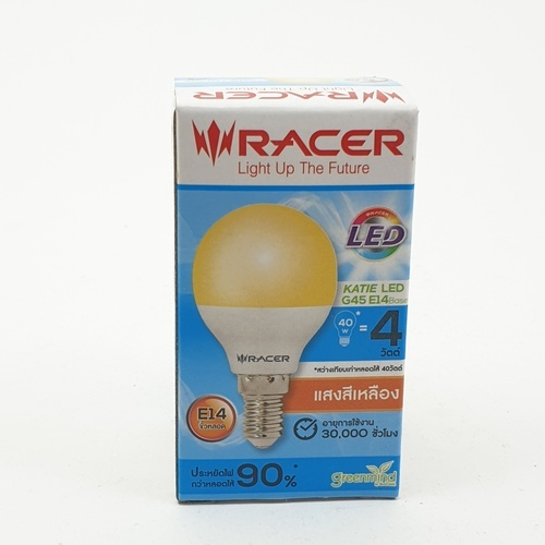 RACER หลอดไฟเคที่แอลอีดี  G45 4 วัตต์  ขั้ว E14  แสงเหลือง