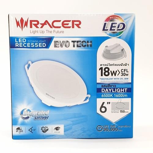 RACER แอลอีดี ดาวน์ไลท์ อีโวเท็ค  18 วัตต์  แสงขาว LED  DOWNLIGHT   EVO TECH 18W  DL สีขาว