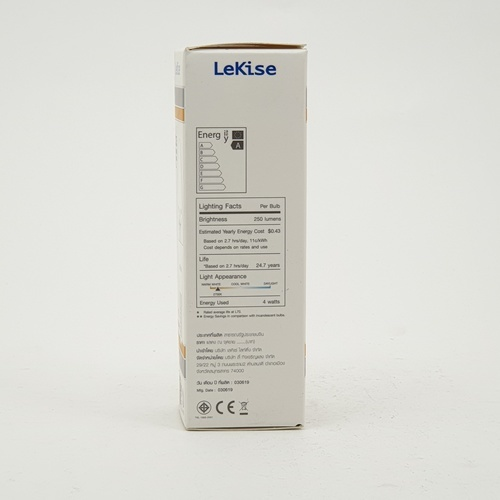 LEKISE หลอดไฟ LED 4 วัตต์  แสงวอร์มไวท์   Candle Light E14