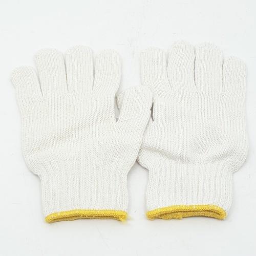 - ถุงมือผ้า 6 ขีด 6 ขีด  สีขาว