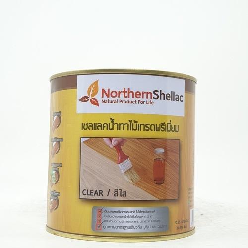 NORTHERNSHELLAC เชลแลคน้ำทาไม้ สูตรสีใส 1/4 กล. พรีเมียม สีเหลือง