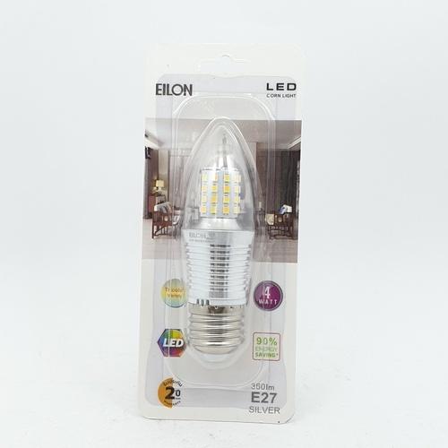 EILON หลอดไฟ LED 4W ปรับได้ 3 แสง ขั้ว E27 Silver ทรงจำปา สีขาว