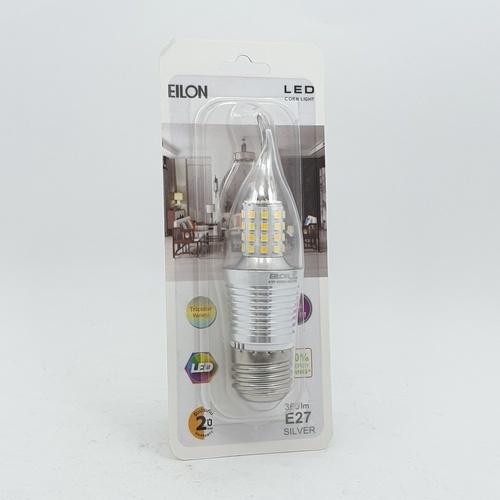 EILON หลอดไฟ LED 4W ปรับได้ 3 แสง ขั้ว E27 Silver ทรงเปลวเทียน สีขาว