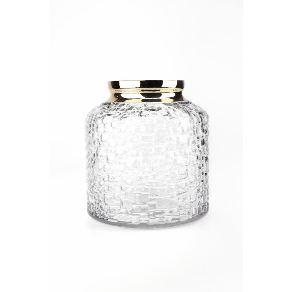COZY แจกันแก้ว ขนาด 17.5x18.5 ซม. Alisha002 สีขาว+ทอง