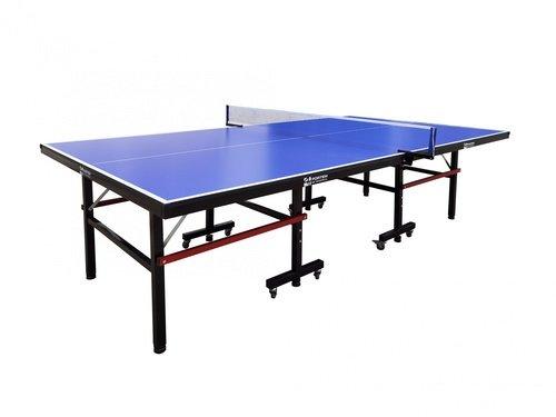 4TEM โต๊ะปิงปอง ขนาด 153x275X76 ซม. ขอบโต๊ะหนา 15 มม พับเก็บได้ พร้อมตาข่าย และล้อเลื่อน 6YP003 สีน้ำเงิน
