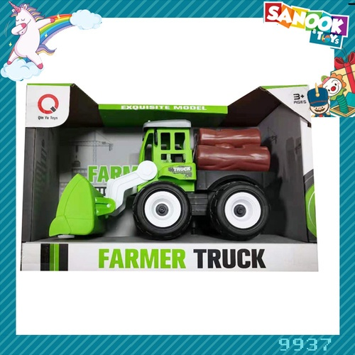 Sanook&Toys ของเล่นรถตักก่อสร้าง (ที่ขนของ,ท่อนไม้,ถังน้ำมัน) #9937 (26x12x17ซม.) สีเขียว