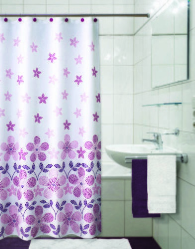 PRIMO ผ้าม่านห้องน้ำ (Polyester)  HST0373 ลาย ตราประทับชมพู