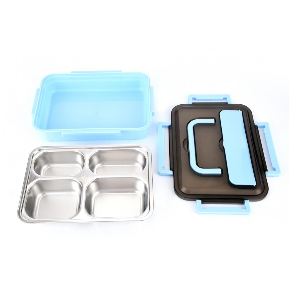 Sane กล่องอาหารสเตนเลส 4ช่อง พร้อมฝาปิด Hitori-01
