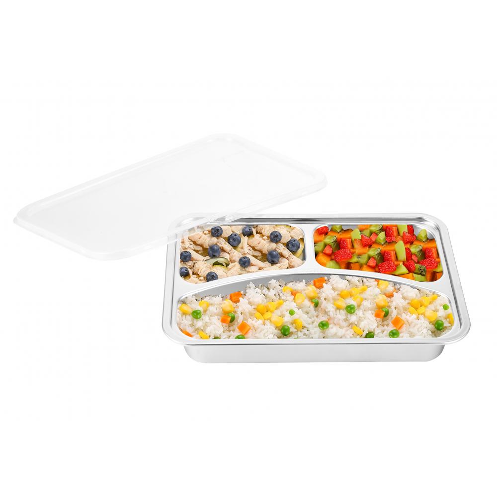 Sane กล่องอาหารสเตนเลส 3ช่อง พร้อมฝาปิด Hitori-02 Hitori-02