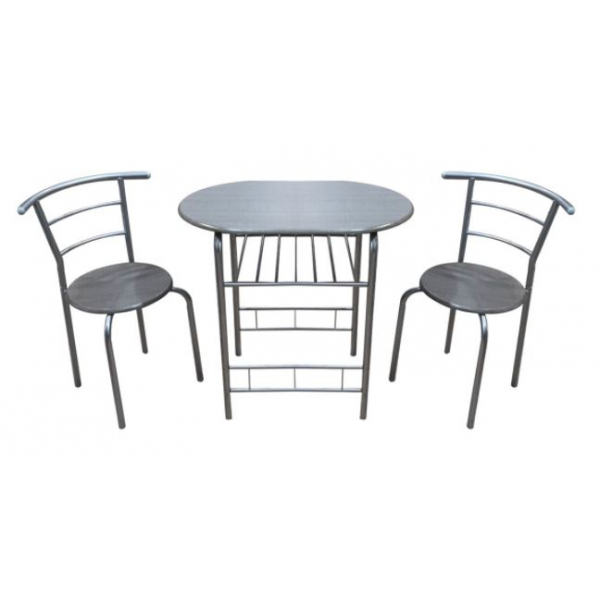 Delicato ชุดโต๊ะอาหารพร้อมเก้าอี้ 2 ที่นั่ง Toby สีเทา