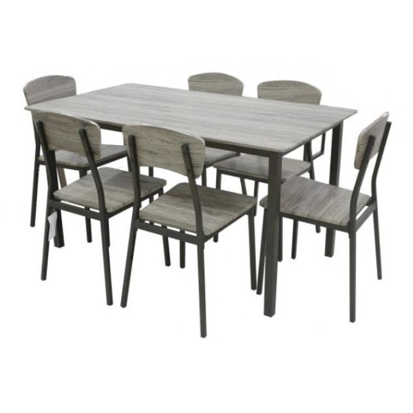 Delicato ชุดโต๊ะอาหารพร้อมเก้าอี้ 6 ที่นั่ง Mocca สีน้ำตาล