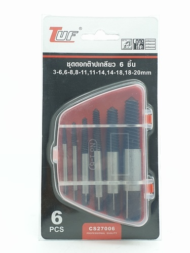 TUF ชุดดอกต๊าปเกลียว 6 ชิ้น (3-6,6-8,8-11,11-14,14-18,18-20mm) ชุดดอกต๊าปเกลียว 6 ชิ้น (3-6,6-8,8-11,11-14,14-18,18-20mm)