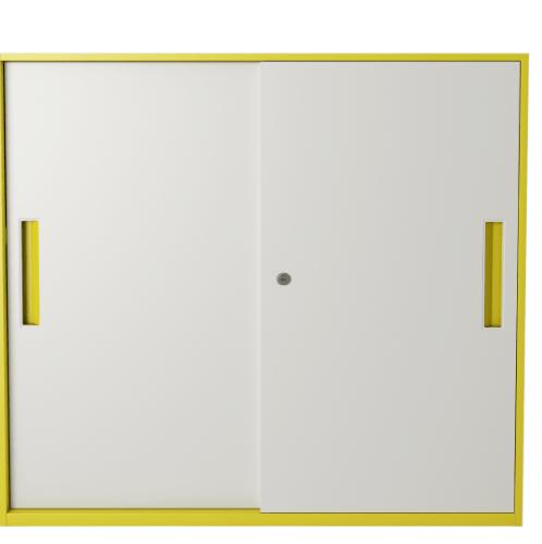 ULA ตู้เก็บเอกสารแบบทึบบานเลื่อน ขนาด 90x40x90ซม.  BDL16 ขาว-เหลือง