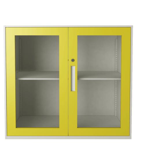 ULA ตู้เก็บเอกสารแบบทึบบานเลื่อน 90x40x90ซม. ขาว-เหลือง BDL15