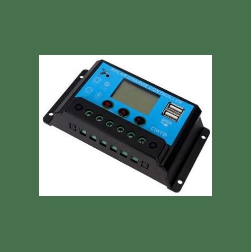 - อุปกรณ์ควบคุมการชาร์จแผงโซล่าร์  PWM 12V/24V-30A สีฟ้าเข้ม