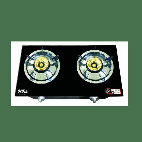 CLOSE  เตาแก๊สหน้ากระจก 2 หัวเตา  BW-XK2010A  สีดำ