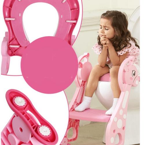 Primo Kids ฝารองนั่งเด็กแบบมีบันได รูปยีราฟ  ขนาด 36x63x58 ซม. YT-012 สีชมพู