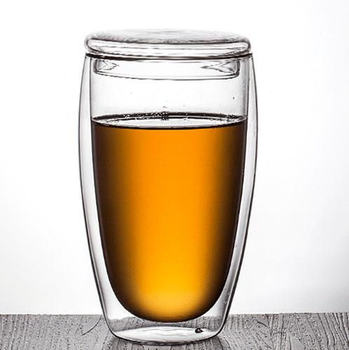AILO แก้วใสสองชั้นพร้อมฝาปิดแก้ว 450 ml.   XXL004