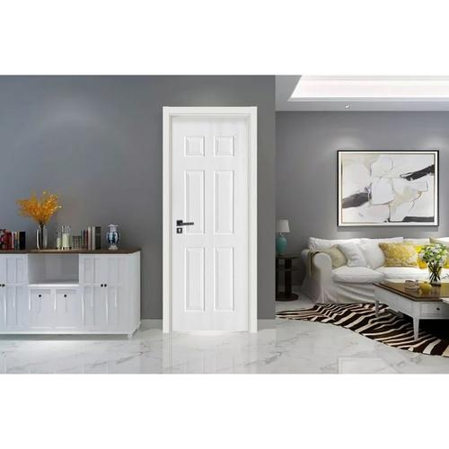 Wellingtan ประตูยูพีวีซี บานทึบ 6ฟักตรง ขนาด 80x200ซม. UPVC-W006 WHITE OAK