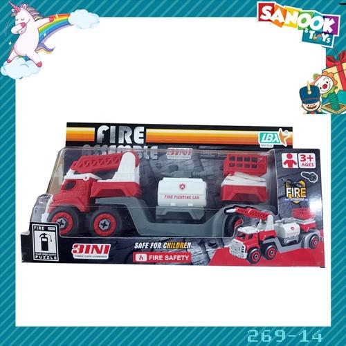 Sanook&Toys ของเล่นรถกู้ภัย 3 IN 1 DIY TOYS สีแดง