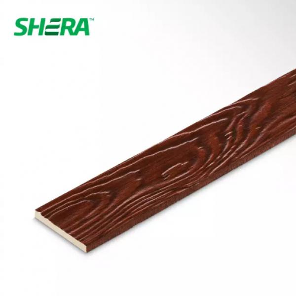 SHERA ไม้ระแนง ขอบตรงลายสัก ชายน์ไลท์  ขนาด 0.8x7.5x300ซม.สีมะค่าแดง