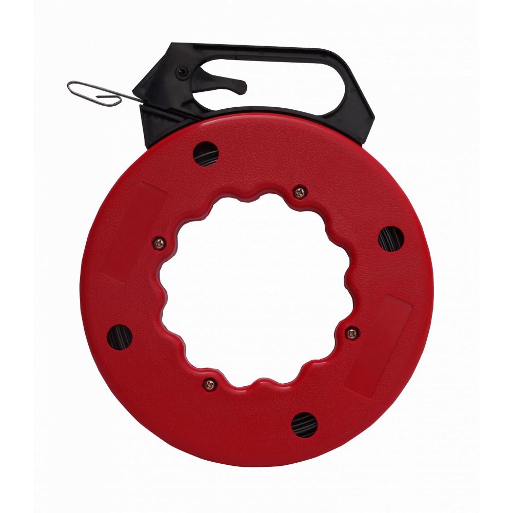 V.E.G. ฟิชเทปหุ้มมีวงล้อเก็บลวด 50 ฟุต  (ยาว 15 เมตร) สีแดง