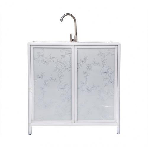 CLOSE ตู้พร้อมซิงค์ล้างจานสเตนเลส 2 หลุมไม่มีที่พัก ขนาด 76x42x84ซม.  Aura  สีขาว